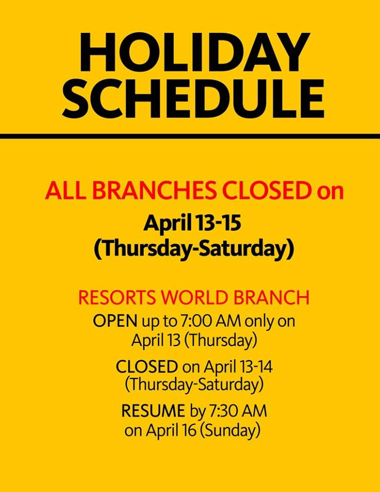 Maybank Schedule Holy Week 2017
