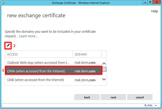 FQDN externo de acceso al servidor Exchange 2013