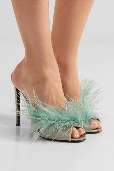 Prada Feather Embellished Satin Mules