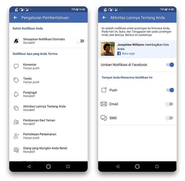 Menonaktifkan Notifikasi Facebook dari Aplikasi