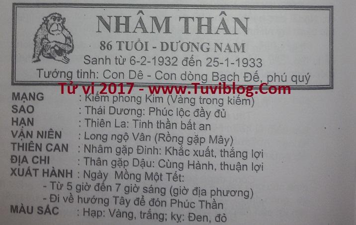 Tu vi 2017 Nham Than 1932 nam mang