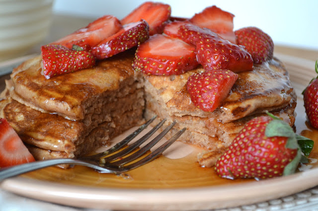Cocoa Buttermilk Pancakes with Strawberries