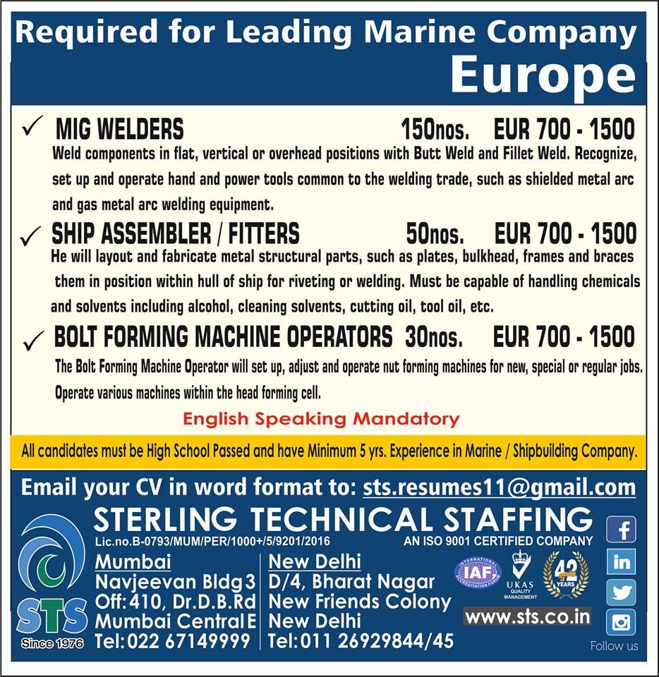 Required for leading Marine Company in Europe