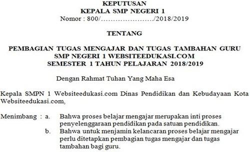 Contoh SK Pembagian Tugas Dan Beban Kerja Guru Terbaru Tahun 2018/2019