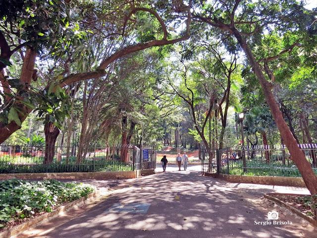 Vista da entrada principal do Parque Buenos Aires em Higienópolis