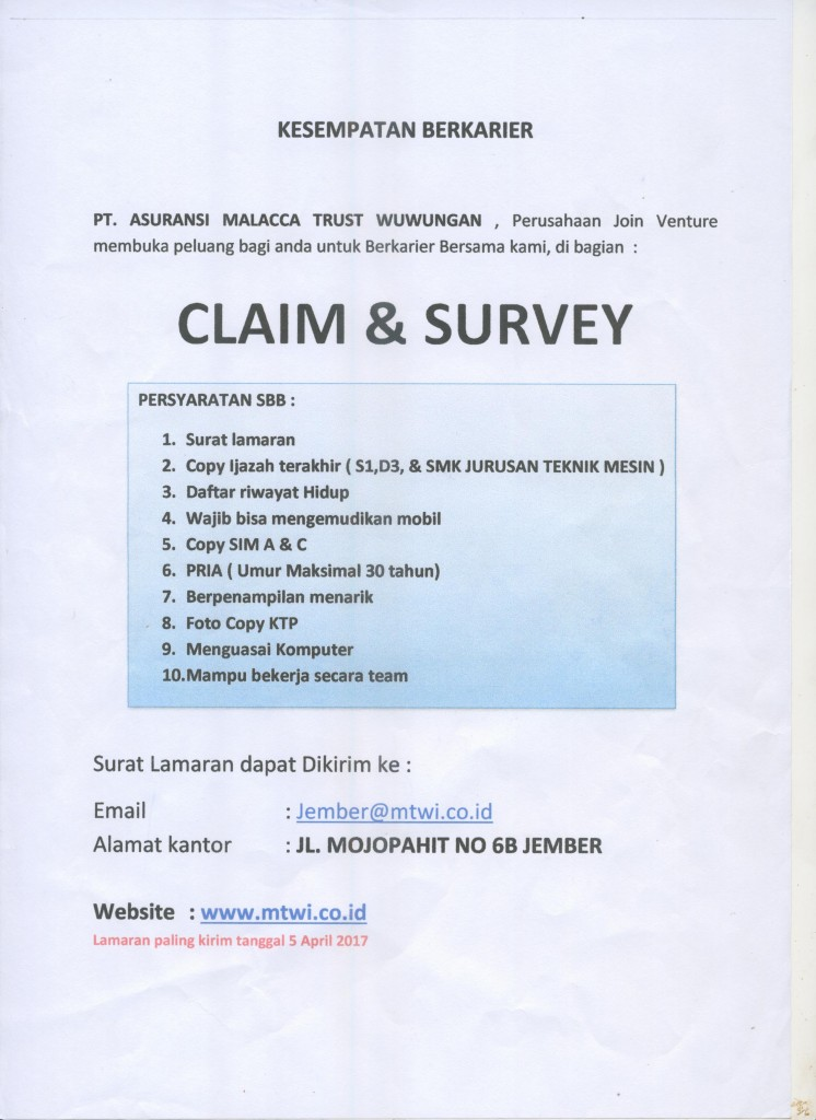 Lowongan Kerja Claim & Survey Pendidikan Minimal SMK Teknik Mesin
