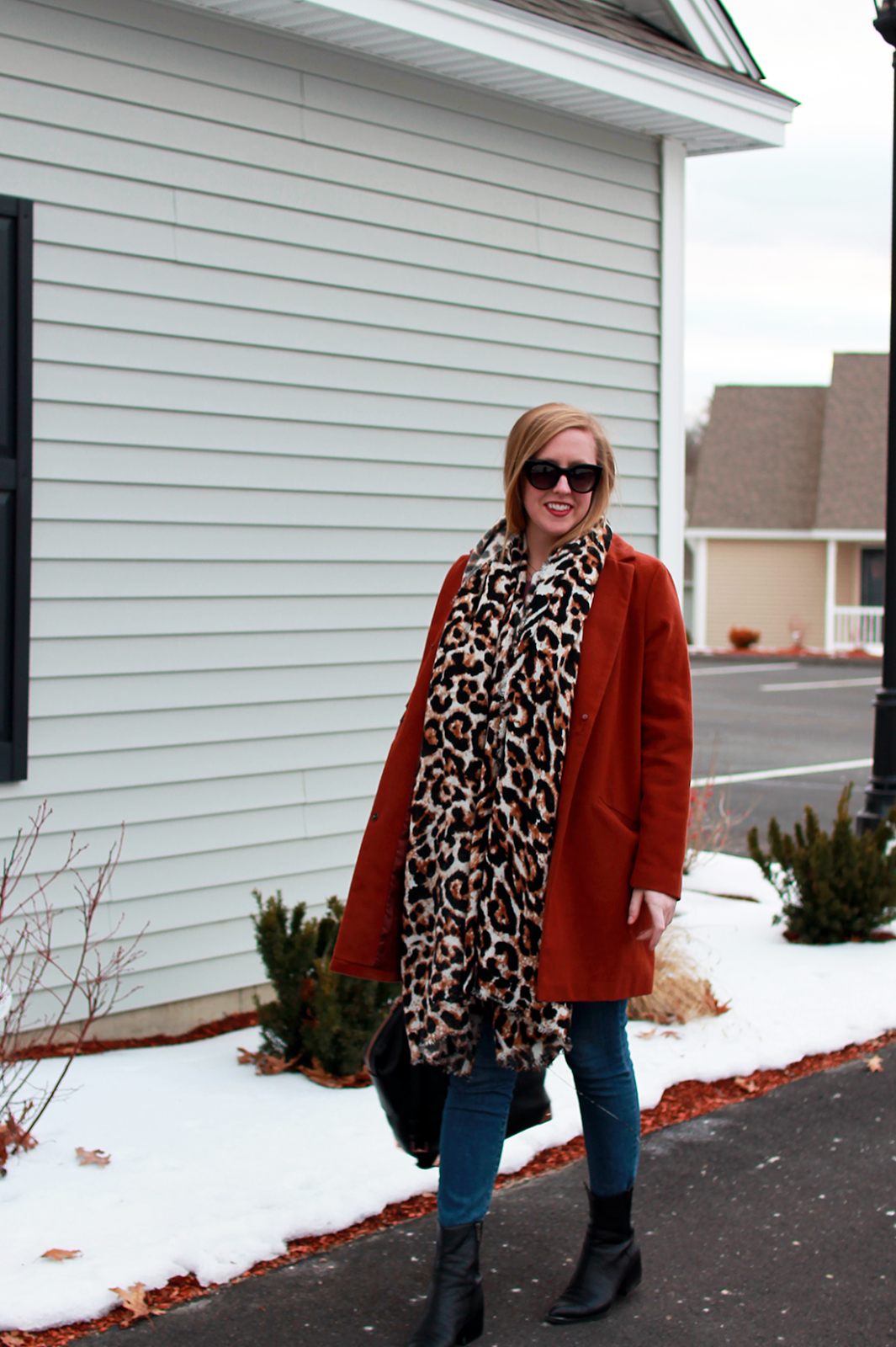 boston style blogger; new england style blogger; boston blogger winter; boston influencer; asos leopard scarf; copper coat;
