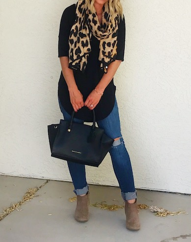Thrifty Wife, Happy Life || Fall look with black top, distressed jeans, ankle boots and leapord scarf
