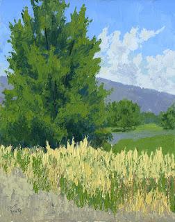 landscape painting palette knife tree summer field road open land