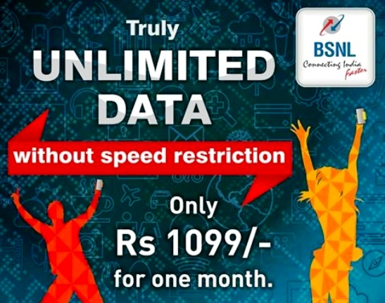 BSNL cuts mobile data rate with benefits increased by 100%, Lanuches TRUE Unlimited 3G data pack @ 1099 from 25th August 2016