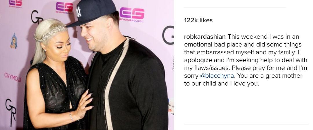 Lol. Rob Kardashian asks for forgiveness and Blac Chyna accepts him back