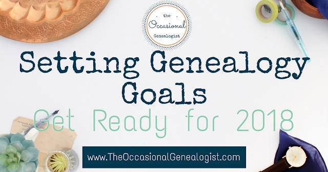 Five easy steps will help you identify and set genealogy goals for your research. If you're short on time, these steps are perfect for you. | The Occasional Genealogist #genealogy #familyhistory #researchplanning
