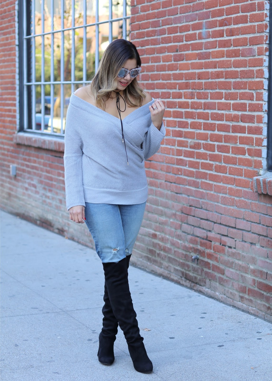 how to wear over the knee boots, how to wear a choker, chic over the knee boots outfit