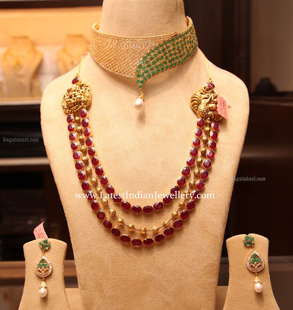 3 Rows Ruby Necklace