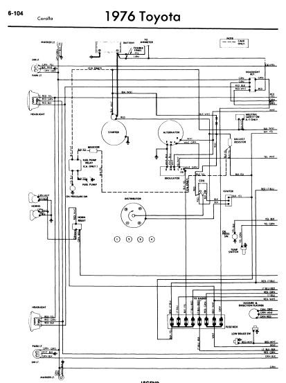 repairmanuals: Toyota Corolla 1976 Wiring Diagrams