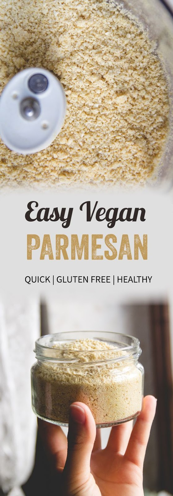 Discover how to make easy 4-ingredient vegan Parmesan cheese that tastes like real cheese! Great on toasts, salads, soups, stews and more.