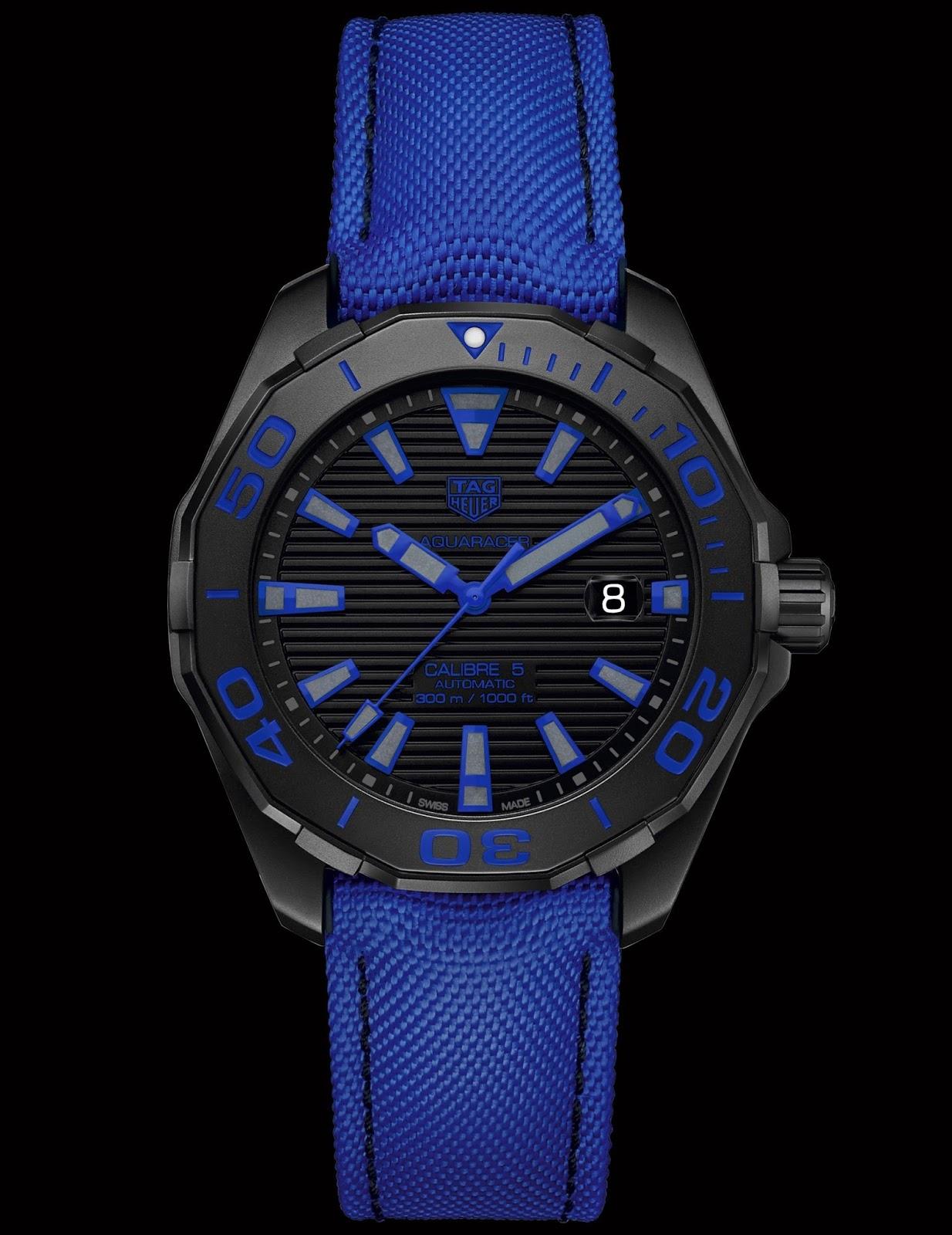 0b2e1f63d70e TAG Heuer Aquaracer 300 M (43 mm) Black Titanium   Nylon Strap ...