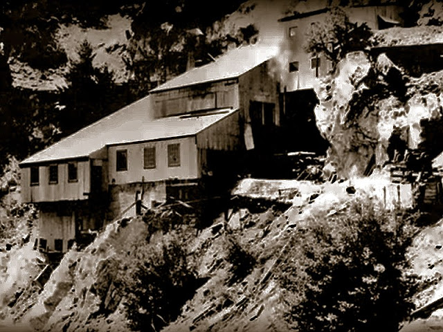 A vintage shot of Big Horn Mine's stamp mill enclosure, taken in 1935.