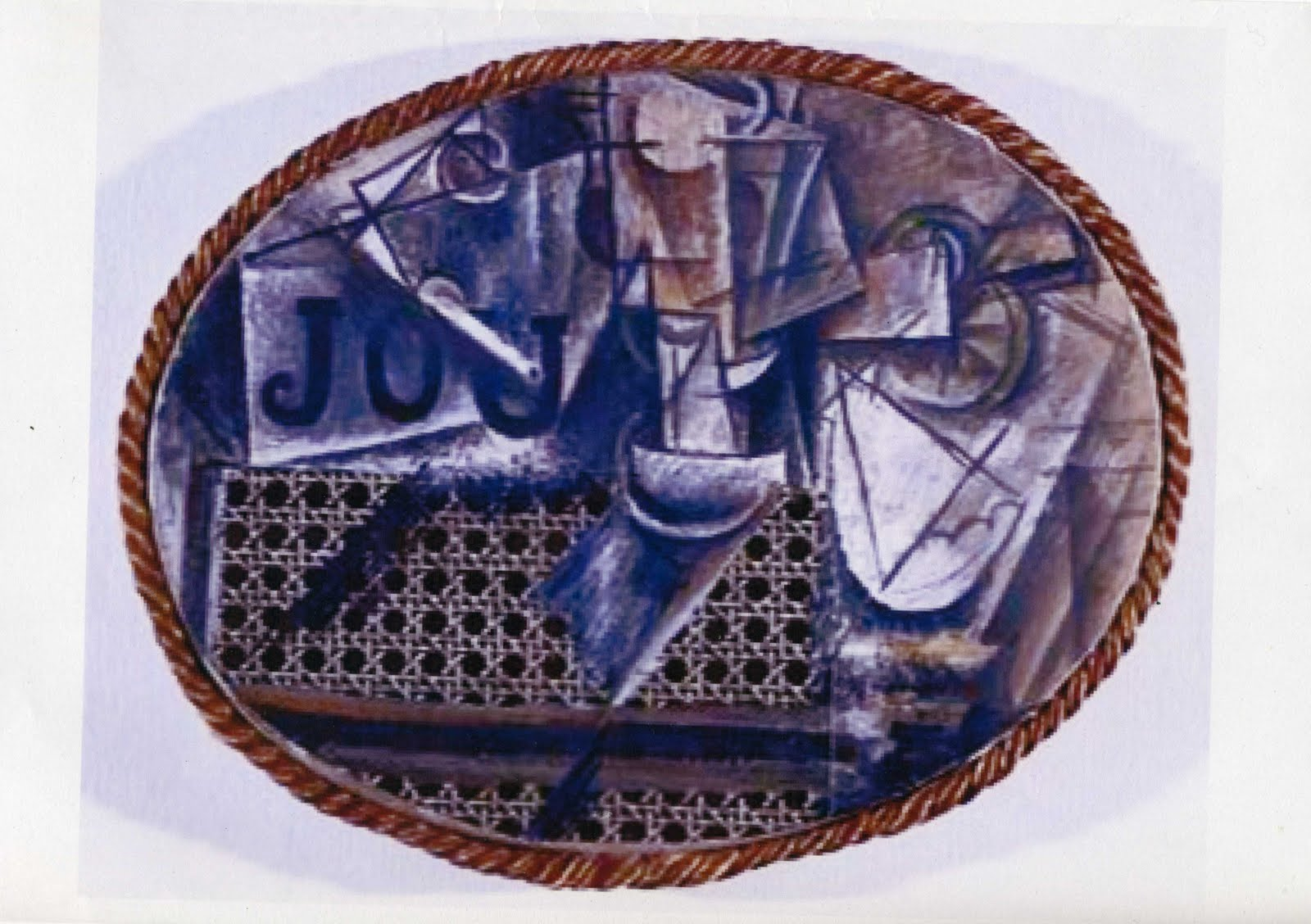 Artplastoc 10 collage photomontage tableau relief - Picasso nature morte a la chaise cannee ...