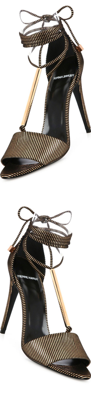 Pierre Hardy Blondie Stripe Leather & Metal Ankle-Tie Sandals