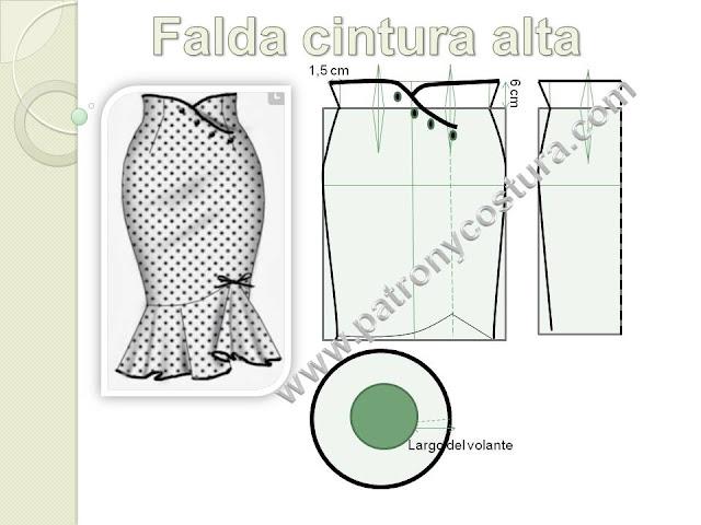 www.patronycostura.com/Falda cintura alta.Tema 190