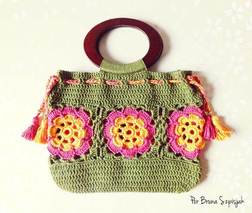 Bolsa de crochê flores Maxicolor - Gráfico, receita e passo a passo