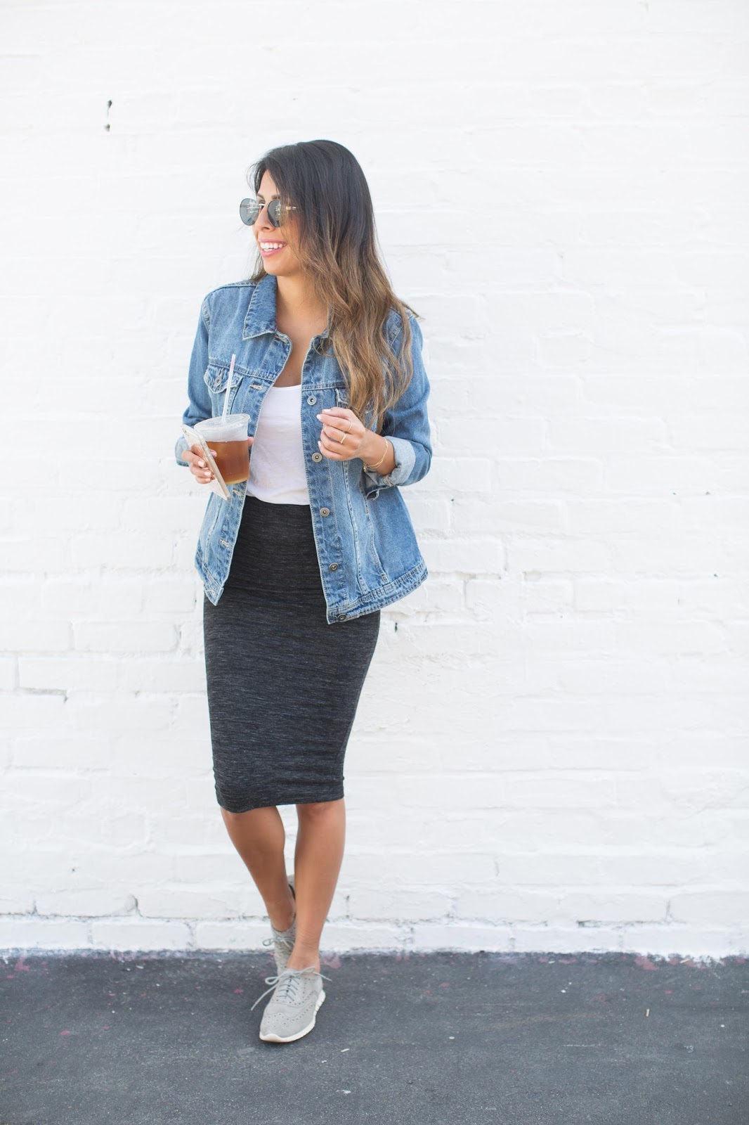 how to wear denim jacket, how to wear tennis shoes with skirts, casual weekend outfit ideas