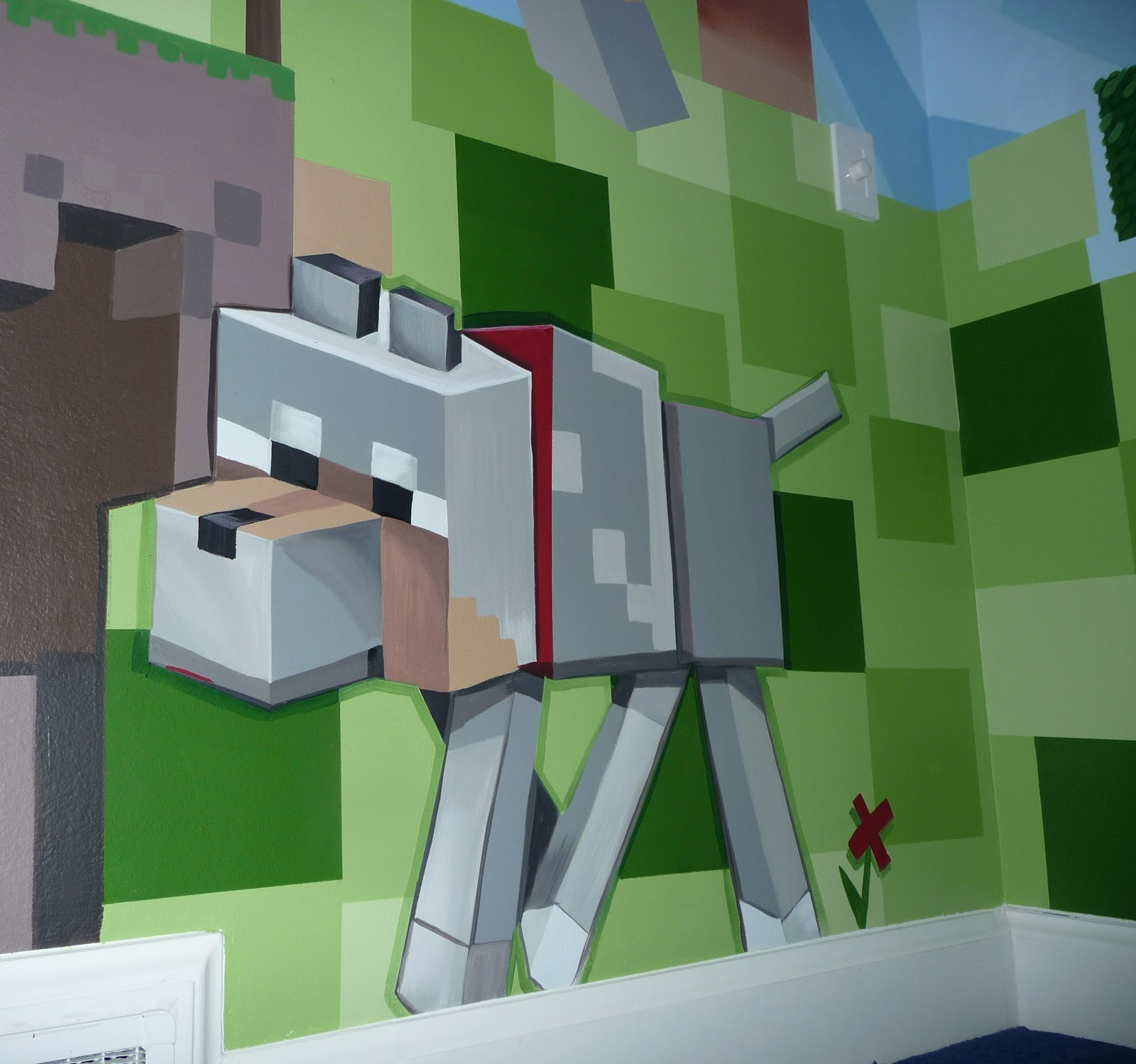 Meme hill studio minecraft mural madness for Minecraft kinderzimmer