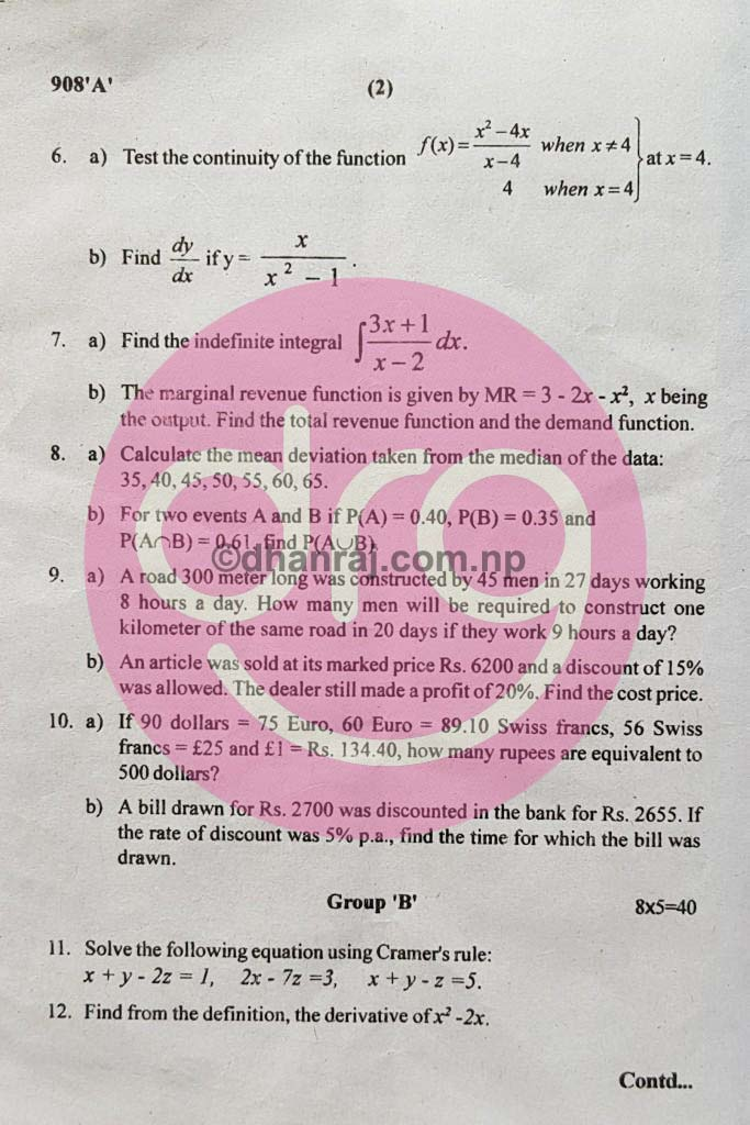 Business Mathematics   Class 12   Exam Paper 2075 [2018