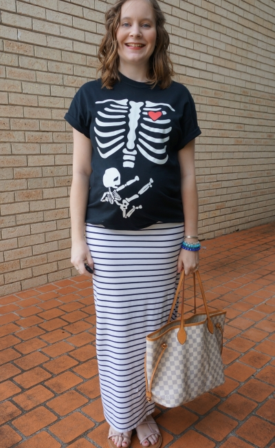 AwayFromBlue | Fun pregnancy ninja baby skeleton tee maxi skirt LV neverfull