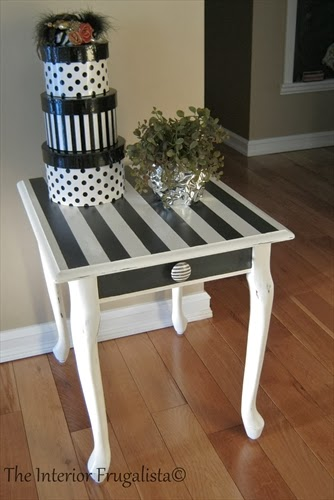 Queen Anne table makeover After in graphite & pure white chalk paint