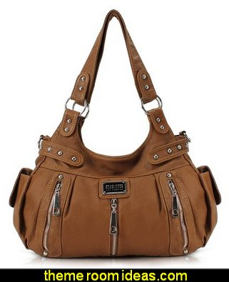 3 Front Zipper Washed Shoulder Bag