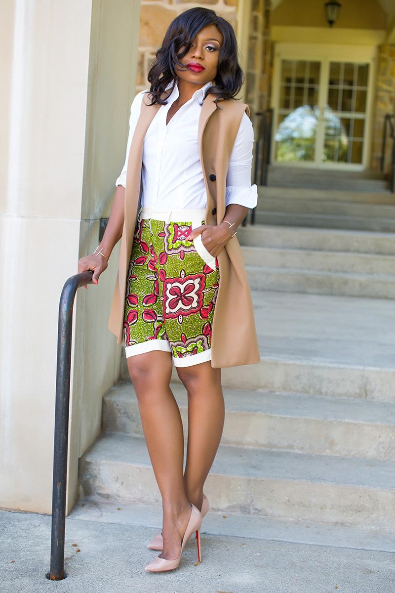 Ankara print shorts, Mango vest, Christian louboutin pumps