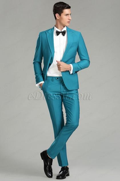 custom turquoise men suits tutedo