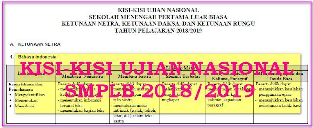 KISI-KISI UJIAN NASIONAL SMP-LB KURIKULUM 2013 TAHUN 2019 - BSNP