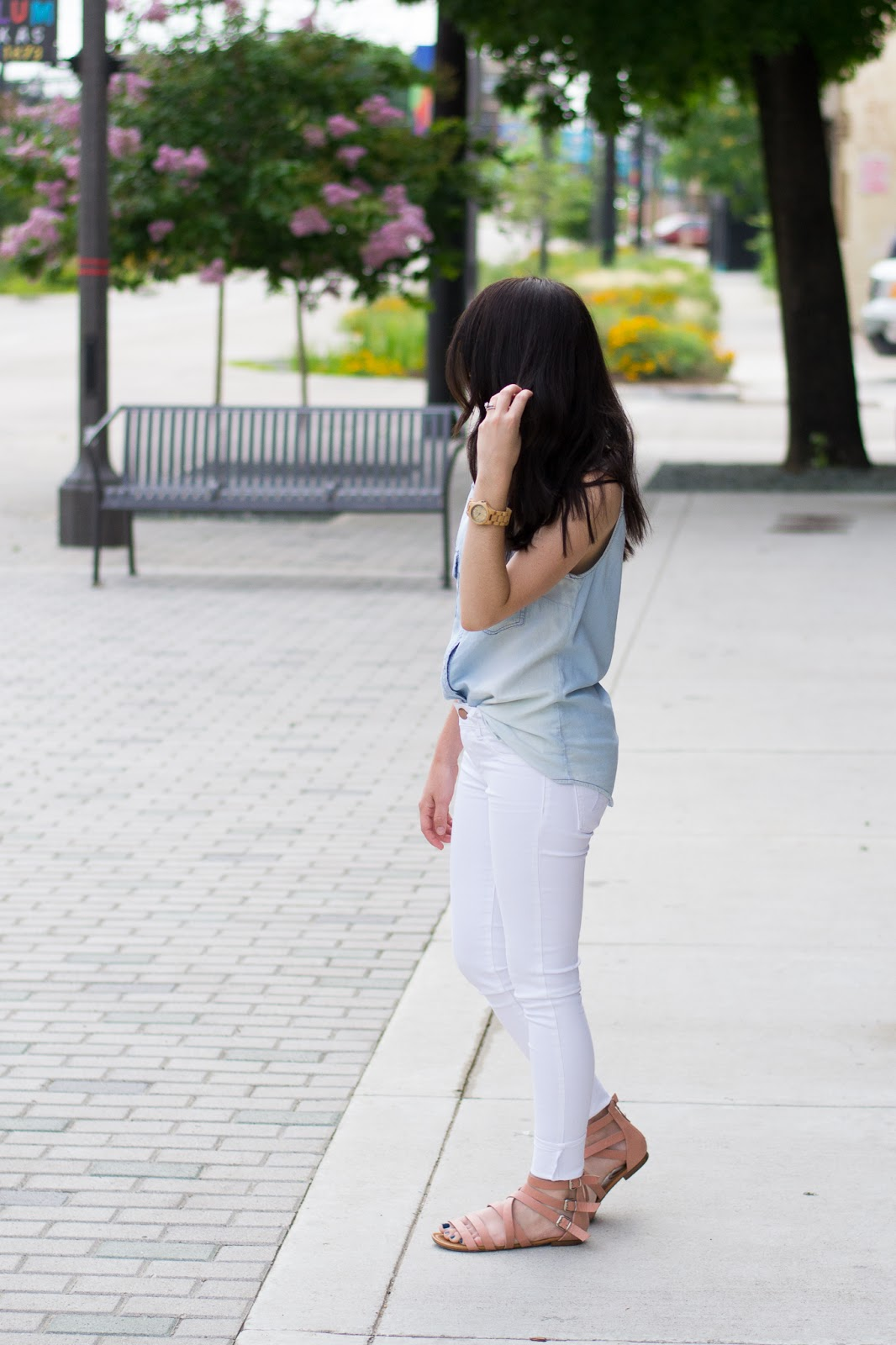 Casual spring and summer outfit with white denim and sleeveless chambray top