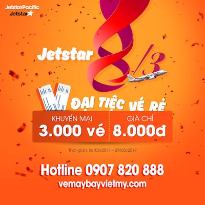 Đại tiệc 3000 vé máy bay Jetstar giá rẻ chỉ từ 8000 đồng