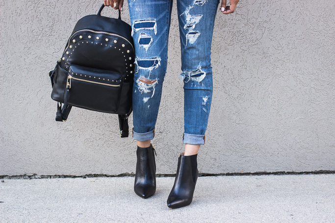 Nine West Front booties and Taren backpack