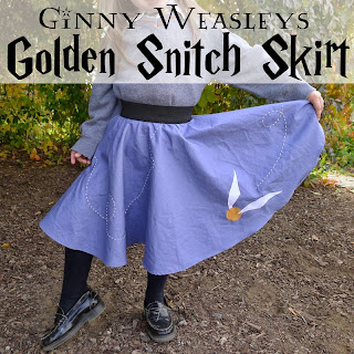http://www.piecesbypolly.com/2013/10/ginny-weasleys-golden-snitch-skirt-diy.html