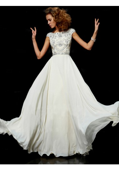 A-line Bateau Chiffon Beading Prom Dresses/Evening Dresses #BK538
