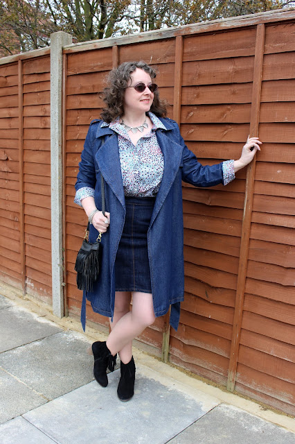 Petite Denim Trench, Warehouse Denim Skirt, Boden Shirt | Petite Silver Vixen