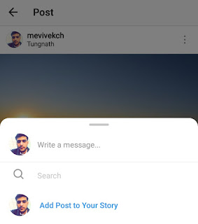 Add post to your story