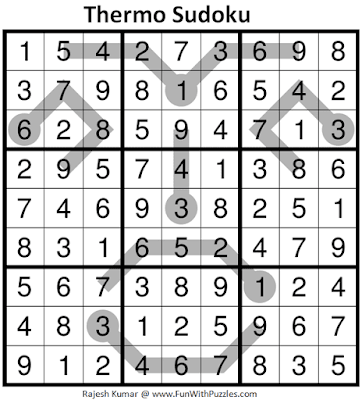 Answer of Thermometer Sudoku Puzzle (Fun With Sudoku #372)