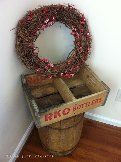 woodsy wreath, soda crate and barrel rustic bedroom accessories