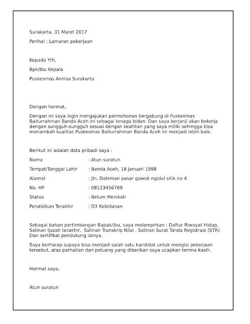 contoh surat lamaran kerja bidan dengan file word