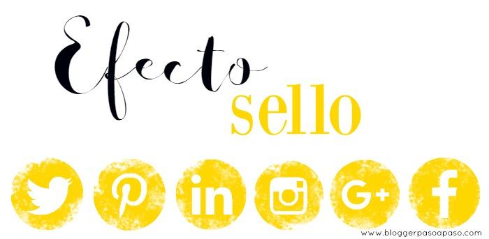 botones redes sociales amarillo efecto sello