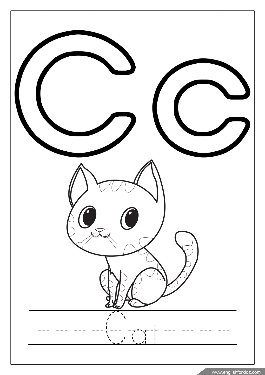 Printable alphabet coloring pages letters a j for C is for cat coloring page