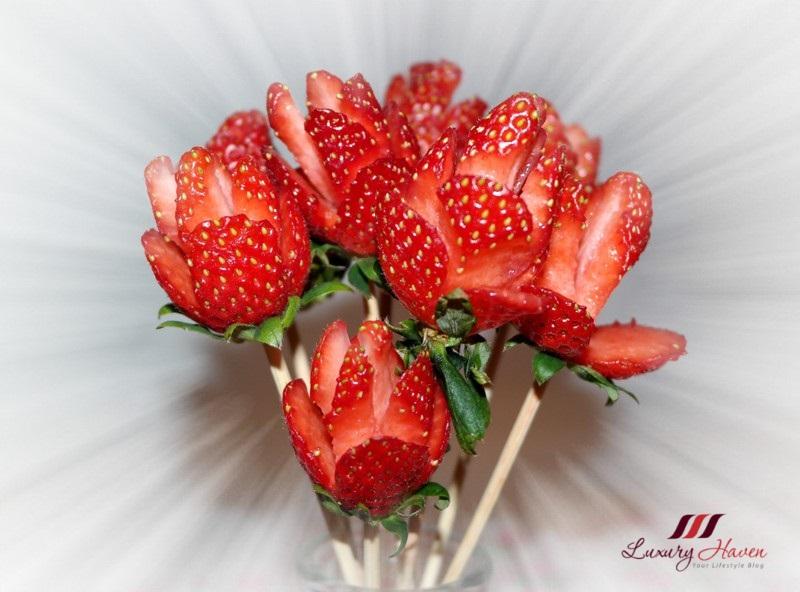 情人节 草莓 玫瑰花束
