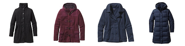 1. Black fleece coat  2. Burgundy Icelandic coat  3. Blue Peacoat  4. Blue parka coat  Photo courtesy of Patagonia.