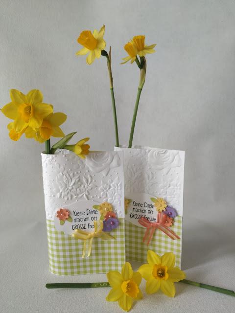 Stampinup - Stoffpapier - Tischkarten - Dekoration - Tischdekoration - Aufsteller - Frühling
